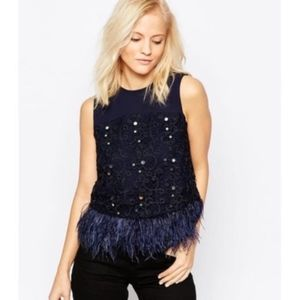 Anthro Greylin | Miri Lace Feather Top Blue Med